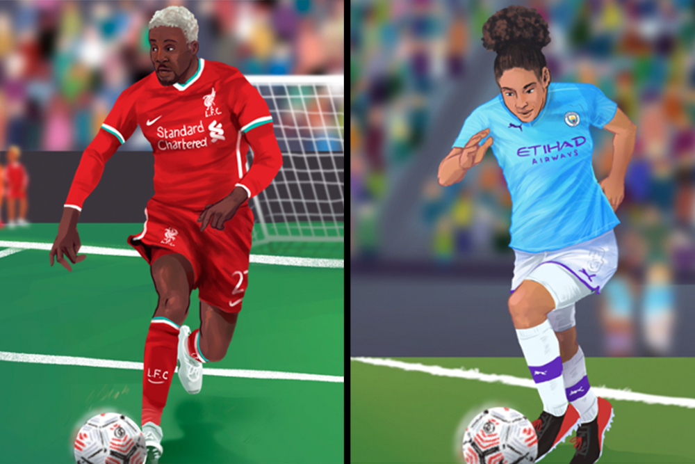 Illustration of Demi Stokes and Divock Origi portraits.