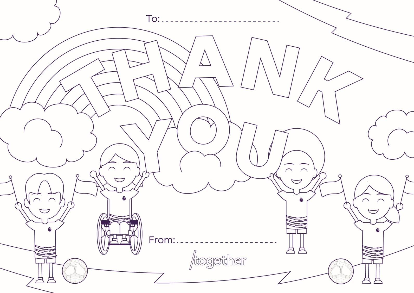 'Thank you' template with children and footballs
