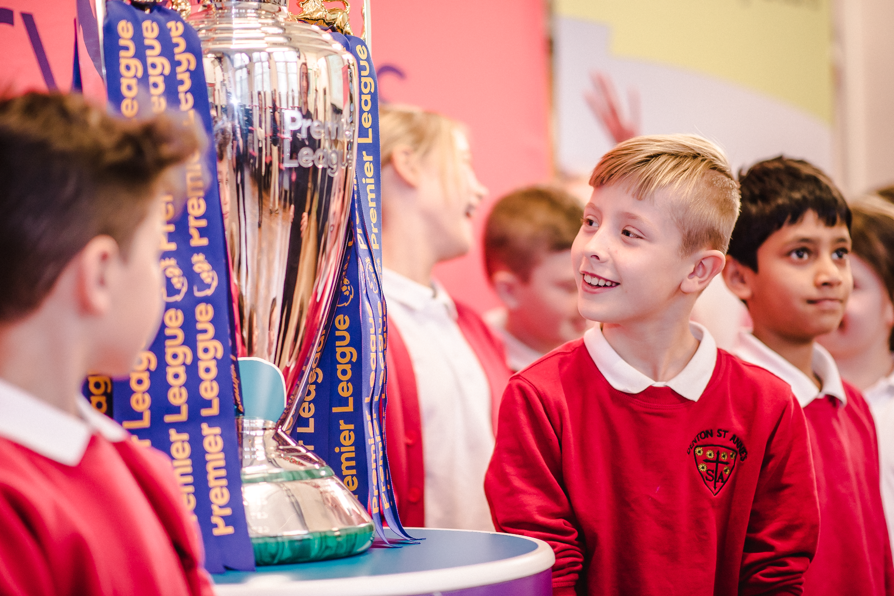Premier League trophy at St Anthony's Catholic Primary School in Hull.