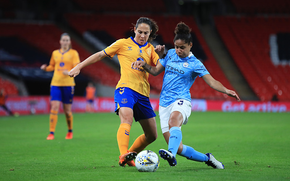 Ingrid Moe Wold of Everton is challenged by Demi Stokes of Manchester City during the Vitality Women's FA Cup Final match between Everton Women and Manchester City Women at Wembley Stadium on November 01, 2020 in London, England.