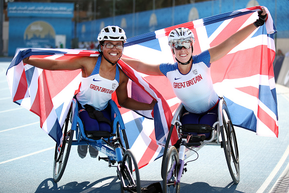 Image shows two British paraolympic athletes.