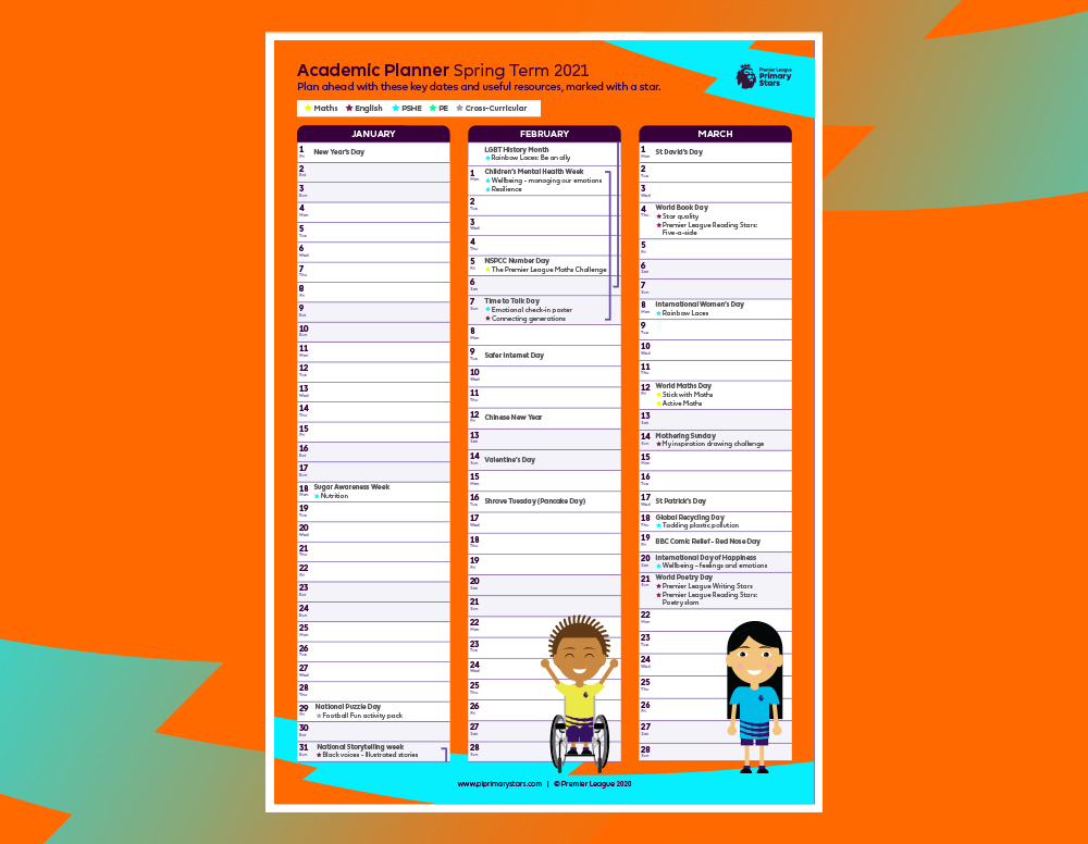 Image shows the academic planner.
