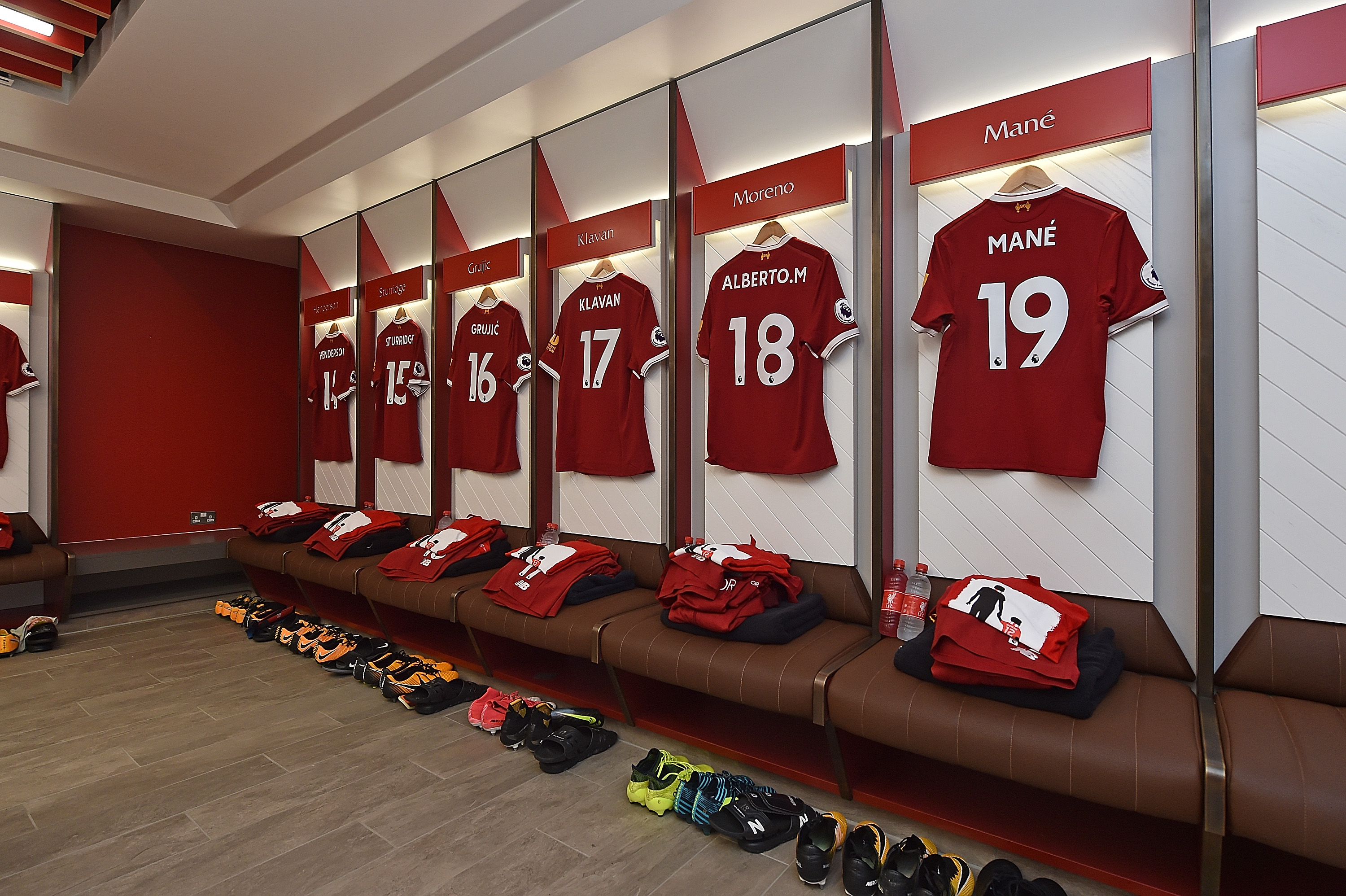 Liverpool shirts hanging in the locker room